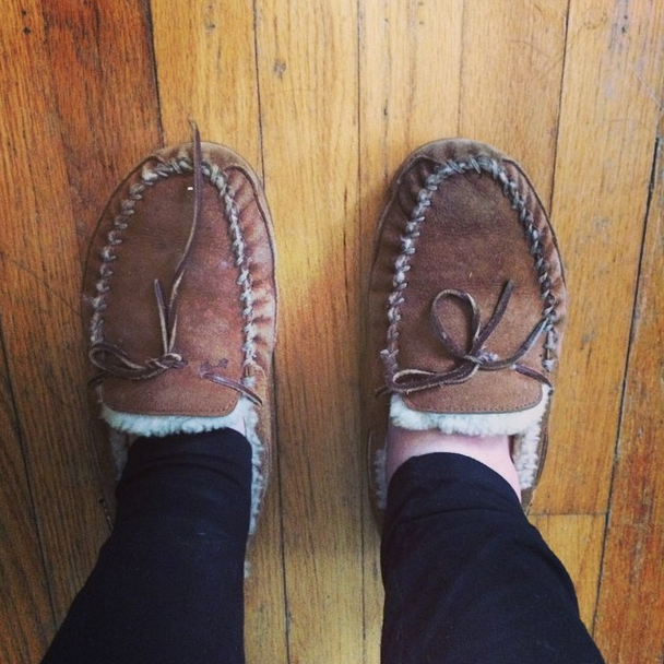 I stepped on a random shard of glass in the house so wore Nate's slippers for the rest of the day!
