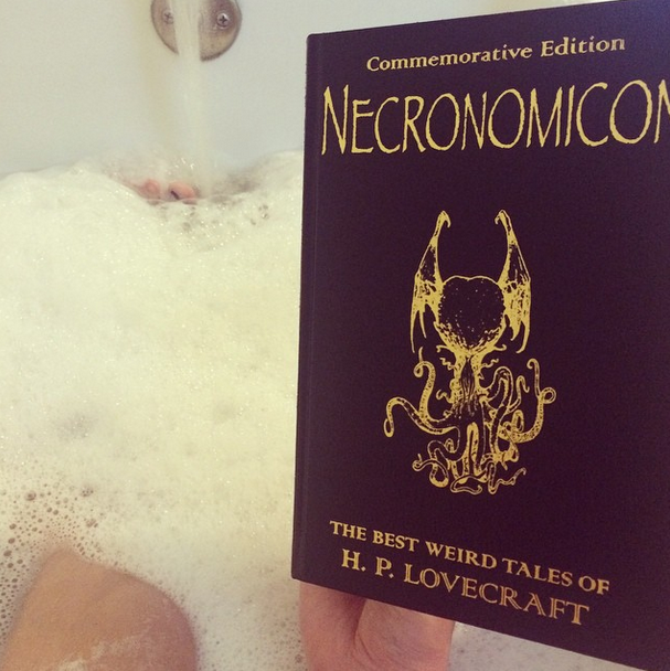 Enjoying some H.P. Lovecraft stories in my awesome tub.