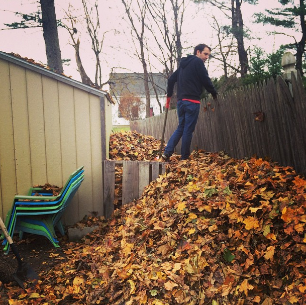 We raked (and shoveled) soooo many leaves into this awesome space behind our shed. The epitome of lazy, people.