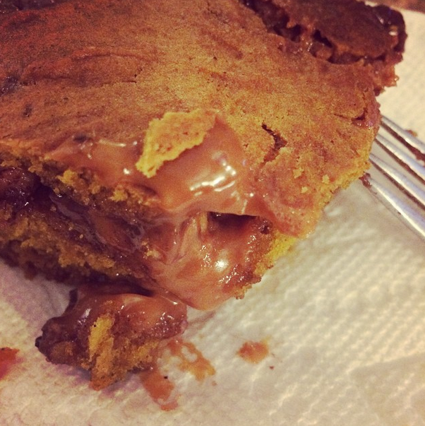 I made some gooey caramel pumpkin blondies (with walnuts and chocolate chips). Heaven.