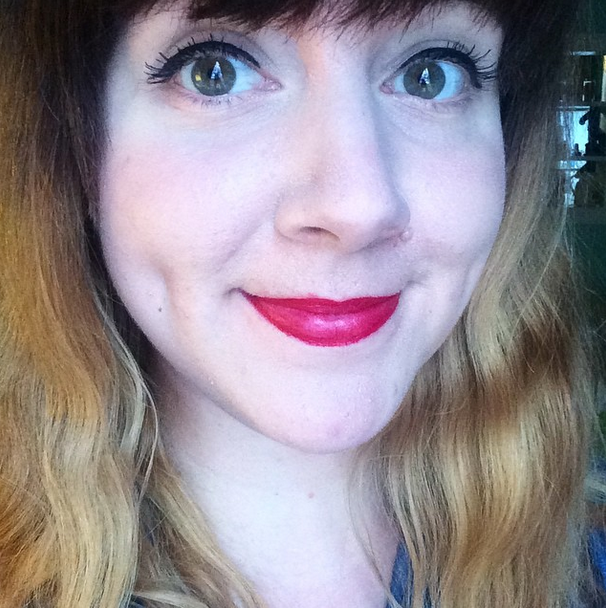 I discovered Make Up For Ever's Redefining Red -- an amazing lipstick with serious staying power (this was taken after wearing it for several hours AND eating lunch).