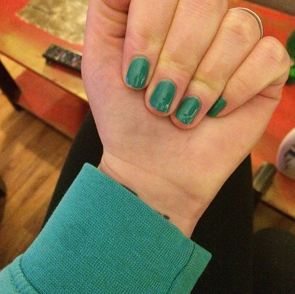 I painted my nails and they eerily matched my favorite hoodie.