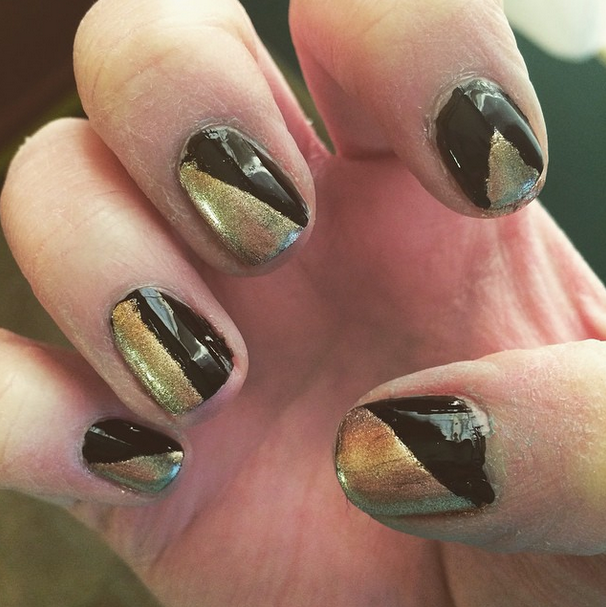 Attempted some fancy New Year's Eve nails. Failed about 50%. And currently horrified at how dry and terrible my cuticles are.