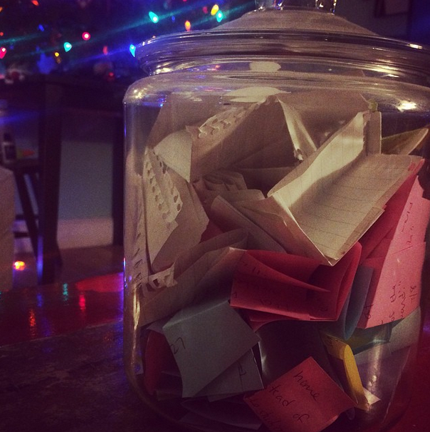 We had a quiet New Year's Eve and opened up the 2014 Memory Jar... :)